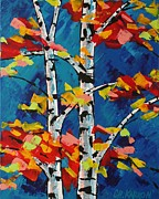 Christine Karron Metal Prints - Two Birches Metal Print by Christine Karron