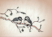 Pine Needles Mixed Media - Two Birds by Wendy McKennon