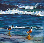 Sea Birds Paintings - Two Birds with Waves by Jeanne Forsythe