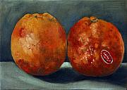 Food And Beverage Painting Originals - Two Blood Oranges by Sarah Lynch