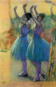 Women Pastels Framed Prints - Two Blue Dancers Framed Print by Edgar Degas
