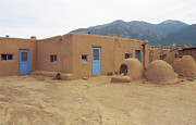 Taos Prints - Two Blue Doors Print by Jerry McElroy