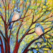 Peach Art - Two Bluebirds by Jennifer Lommers