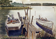 Skiffs Framed Prints - Two Boats at Dock Framed Print by Raymond Edmonds