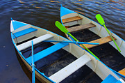 Green Canoe Prints - Two boats Print by Carlos Caetano