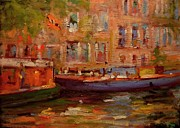 Netherlands Paintings - Two boats in Amsterdam by R W Goetting
