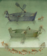 Sea Drawings Framed Prints - Two Boats Framed Print by Kestutis Kasparavicius