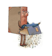 Books Drawings Posters - Two Books Poster by Kestutis Kasparavicius