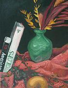 Drapery Posters - Two Books with Green Vase Poster by Aleksandra Buha