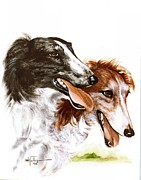 Hounds Originals - Two Borzois by Barbara Walker