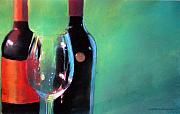 Wine Bottles Pastels - Two Bottles and a Glass by Will Sellers