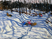 Sledging Prints - Two boys falling off a sledge Print by Andrew Macara