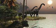 Ocean Sunset Prints - Two Brachiosaurus Dinosaurs Enjoy Print by Corey Ford