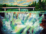 Waterfalls Painting Framed Prints - Two Bridges and a Falls 2          Framed Print by Kathy Braud