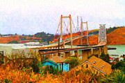 Carquinez Bridge Framed Prints - Two Bridges in The Backyard Framed Print by Wingsdomain Art and Photography
