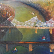 Fireworks Mixed Media Originals - Two Bridges by Janice Schoultz Mudd