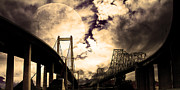 Carquinez Bridge Prints - Two Bridges One Moon Print by Wingsdomain Art and Photography