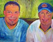 Baseball Cap Painting Prints - Two Brothers Print by Patricia Taylor