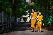 Clothes Clothing Originals - Two Buddhist monks go along the alley in a monastery in Chiang M by Max Drukpa