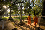 Siem Reap Posters - Two Buddhist Monks Walk Along The Siem Poster by Michael S. Lewis