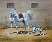 Stable Painting Originals - Two buddies by Irek Szelag