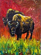 Goat Painting Originals - Two Buffalo by Joseph Santa Maria