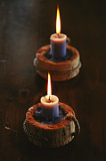 Lights And Lighting Posters - Two Candles In Rustic Candlesticks Poster by Vlad Kharitonov