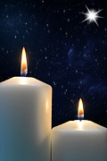 Star Of Bethlehem Prints - Two candles with Star of Bethlehem  Print by Michael Gray