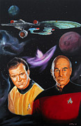 Captain Kirk Painting Posters - Two Captains Poster by Robert Steen