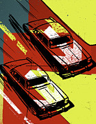 Old Objects Digital Art Posters - Two Cars Racing Poster by Alex Williamson