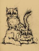 Animals Drawings - Two Cats by Angel  Tarantella
