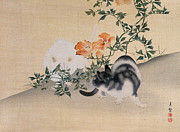 Playing Paintings - Two Cats by Japanese School