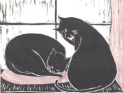 Linoleum Cut Framed Prints - Two Cats Framed Print by Mui-Joo Wee