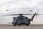 Middle Ground Photos - Two Ch-53e Super Stallion Helicopters by Stocktrek Images