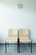 Against A Wall Framed Prints - Two Chairs And A Clock Framed Print by Iain Sarjeant