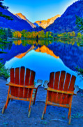 Mountain Reflection Prints - Two Chairs in Paradise Print by Scott Mahon