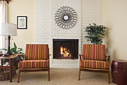 Furnishing Framed Prints - Two Chairs Next To Fireplace Framed Print by Bryan Mullennix