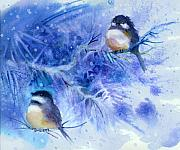 Cute Mixed Media Originals - Two Chickadees in Snow by Peggy Wilson