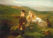 Basket Painting Metal Prints - Two Children Fishing in Scotland   Metal Print by Otto Leyde