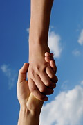 Embracing Posters - Two children holding hands Poster by Sami Sarkis