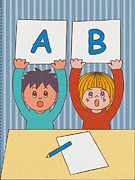 Two By Two Framed Prints - Two Children Holding Letter A And B Framed Print by Miyako Matsuda