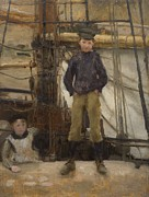 Cap Framed Prints - Two Children on Deck Framed Print by Henry Scott Tuke
