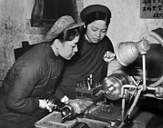 Factory Workers Framed Prints - Two Chinese Women In Simple Dark Framed Print by Everett