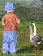 Geese Painting Prints - Two Close For Comfort Print by Linda Hiller