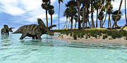 Seashore Digital Art Metal Prints - Two Coahuilaceratops Dinosaurs Wade Metal Print by Corey Ford