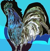 Animal Prints - Two Cocks 2 Print by Navo Art