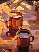 Oil On Canvas Drawings - Two Coffees by Tim  Heimdal