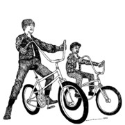 Boys Drawings Posters - Two Cool Riders Poster by Karl Addison