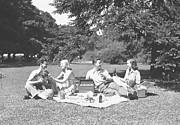 Picnic Basket Prints - Two Couples Having Picnic, (b&w) Print by George Marks