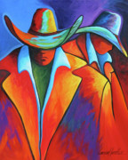 Contemporary Cowgirl Paintings - Two Cowboys by Lance Headlee